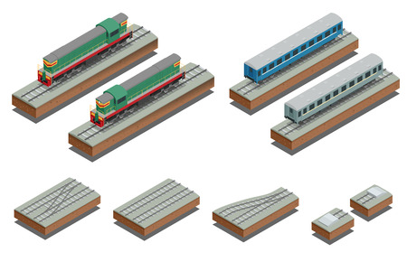 Fast Train coach and diesel electric locomotive. Vector isometric illustration of a Fast Train. Vehicles designed to carry large numbers of passengers