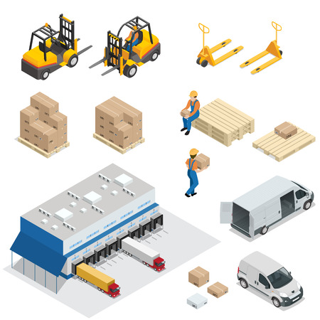 Set of Warehouse equipment. Shipping and delivery flat elements. Workers boxes forklifts and cargo transport. Transport system delivery process. Ilustração