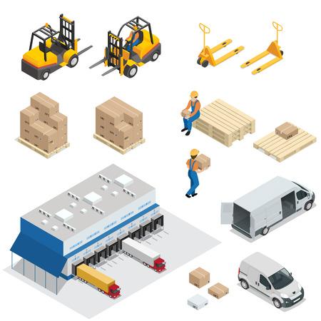 Set van magazijnapparatuur. Verzending en levering vlakke elementen. Werknemers dozen heftrucks en vrachtvervoer. Transportsysteem leveringsproces.