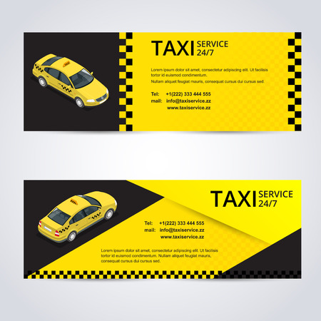 yellow taxi: Black and yellow taxi card with taxi car image Illustration
