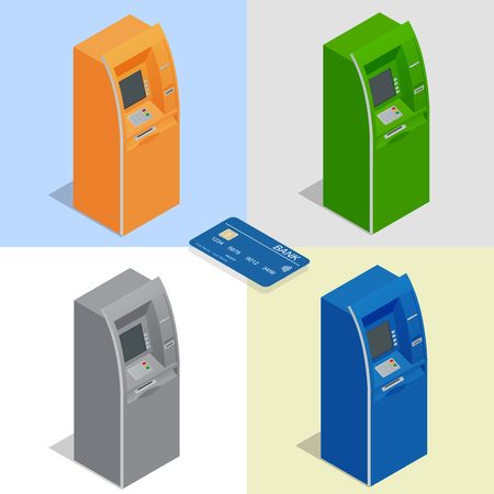 ATM machines. Payment using credit card. Banking finance money. Isometric vector illustration for infographics.