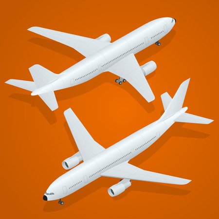 fuselage: Airplane. Flat 3d isometric high quality transport - passenger plane . Illustration