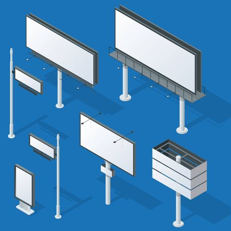 pillar box: Billboards, advertise billboards, city light billboard. Flat 3d isometric vector illustration Illustration