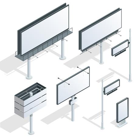 Billboards, adverteren billboards, stad licht billboard. Flat 3d isometrische vector illustration Vector Illustratie