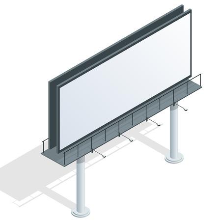 advertise: Billboard, advertise billboard, city light billboard. Flat 3d isometric vector illustration