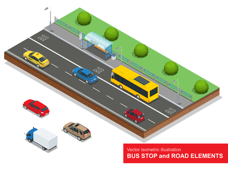 bus station: Bus stop. Set of the isometric bus, sedan, taxi, cargo and bus stop.
