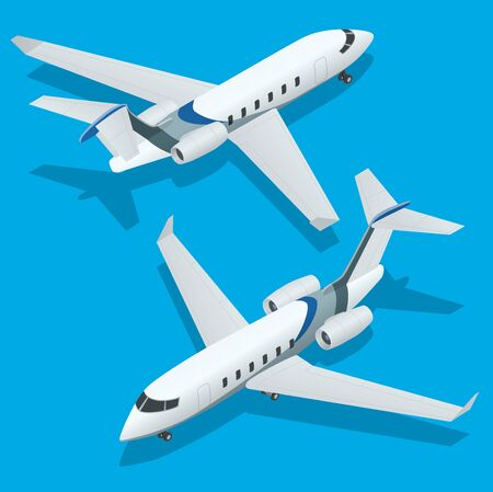 private jet: Business aircraft. Corporate jet. Airplane. Private jets. Flat 3d Isometric vector illustration