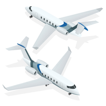 jets: Business aircraft. Corporate jet. Airplane. Private jets. Flat 3d Isometric vector illustration