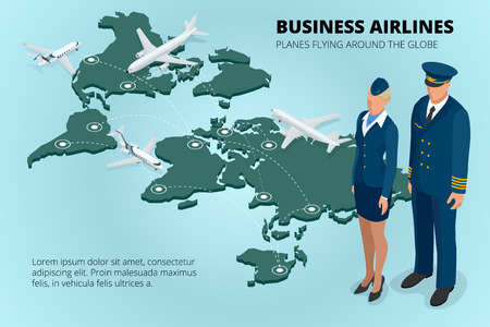 class maintenance: Business airlines, Planes flying around the globe. Flat 3d isometric vector