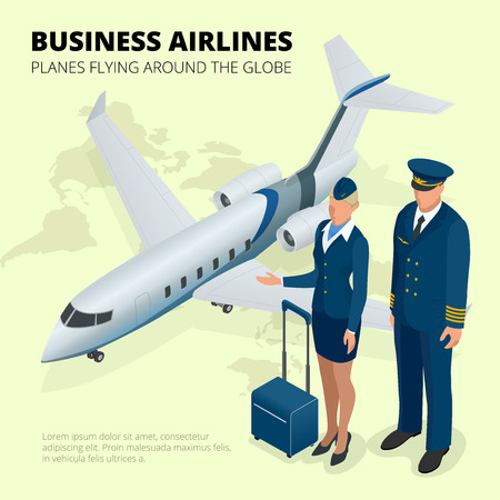 ビジネス航空、世界中を飛ぶ飛行機。平らな 3 d 等角投影ベクトル
