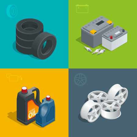 mecanico: servicio de neumáticos de automóviles coche, iconos de reparación plana conjunto aislado ilustración vectorial isométrica. Consumibles para el coche