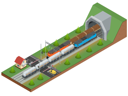 locomotion: Vector isometric illustration of a railway junction. Railway junction consist of Rail covered wagon, Diesel Locomotive, railway tunnel, Railway crossing, and Railway tank for fuel Illustration