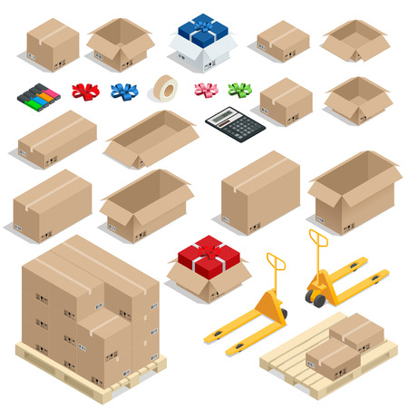unbuttoned: Cardboard Boxes, Set opened or closed, sealed with tape big or small format. Flat 3d style vector illustration isolated on white background Illustration