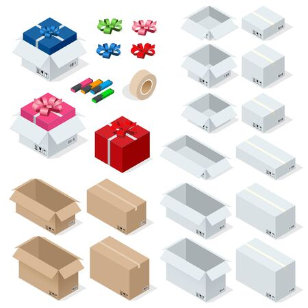sealed: Cardboard Boxes, Set opened or closed, sealed with tape big or small format. Flat 3d style vector illustration isolated on white background Illustration