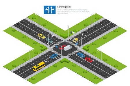 Skrzyżowania i oznaczenia drogowe izometrycznej ilustracji wektorowych. Samochód transportowy, miejskich i asfalt, ruch. Skrzyżowanie dróg.
