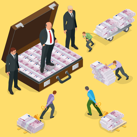 Debts on loans. People gives back debts on loan. Five hundred euro banknote. Flat 3d vector isometric illustration