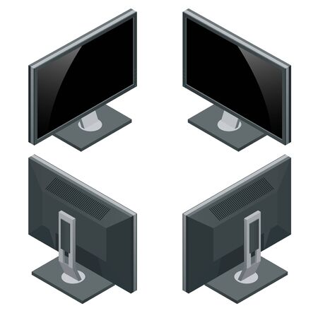 modern monitor: Computer monitor isolated on white. Flat 3d Vector isometric illustration