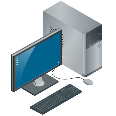 computer case: Computer Case with Monitor, Keyboard and Mouse, isolated on white background, flat 3d vector isometric illustration. Computer Technology