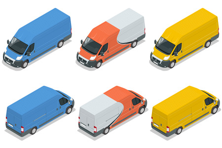 commercial vehicle: Commercial vehicle, van for the carriage of cargo flat 3d vector isometric illustration isolated on white background. Flat 3d Vector isometric illustration