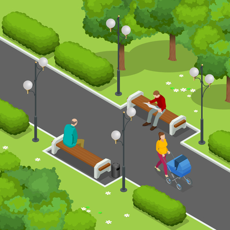 family park: City park. Beautiful young mom pushing stroller with baby. Men resting on a bench. The man reading the newspaper. Flat 3d Vector isometric illustration