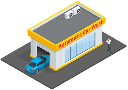 nylon: Car wash full automatic 24h service facilities with touchless equipment. Automatic Car Wash. Flat 3d vector isometric illustration. Business concept of car wash, best clean, auto service