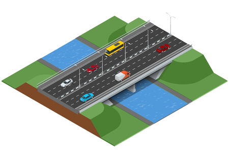 Isometric bridge over the river. Commercial transport. Various types of load and cargo. Logistics. Flat 3d Vector isometric illustration Иллюстрация