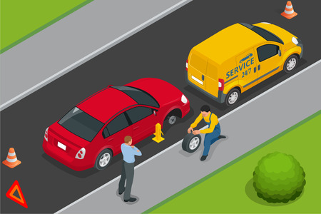 assist: Roadside assistance car. Man changing wheel on a roadside. Auto service. Protection of car. Insurance accident car on road.
