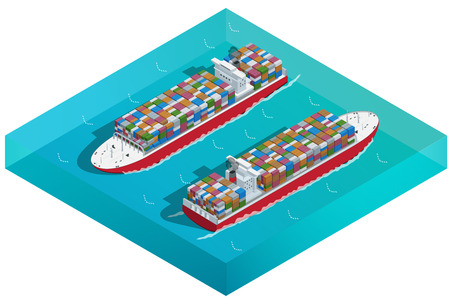 bulk carrier: Container ship, Tanker or Cargo ship with containers icon. Flat 3d isometric transport. Vehicles designed to carry large numbers of cargo