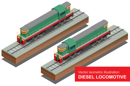 diesel train: Vector isometric illustration of  Diesel Locomotivel. Train Locomotive Transportation Railway Transport vector illustration.