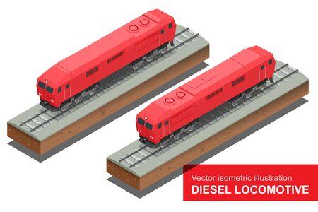 diesel train: Vector isometric illustration of  Diesel Locomotivel. Train Locomotive Transportation Railway Transport vector illustration.