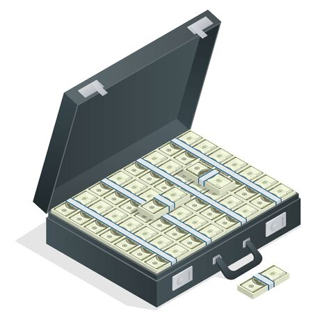 money packs: Case full of money on white background. Lot of money in a suitcase