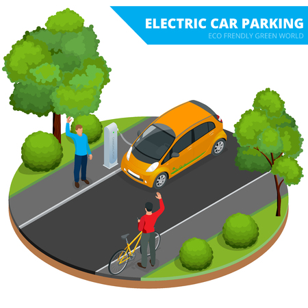 Isometric Electric car parking. Ecological concept. Eco friendly green world. Flat 3d vector isometric illustration