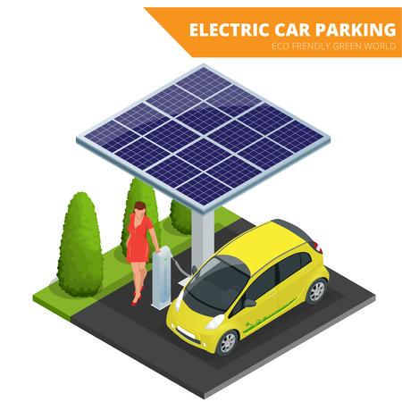 energia electrica: aparcamiento para coches eléctricos isométrica, coche electrónico. Concepto ecológico. Mundo de Eco amistoso verde.