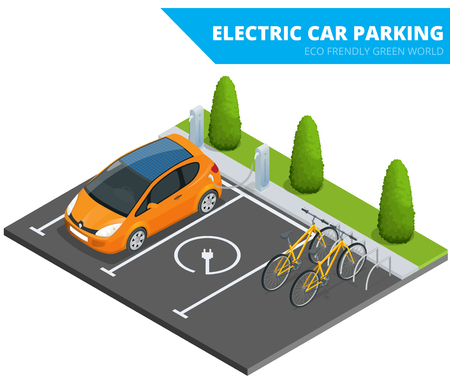 Isometric Electric car parking, electronic car. Ecological concept. Eco friendly green world Stock Illustratie