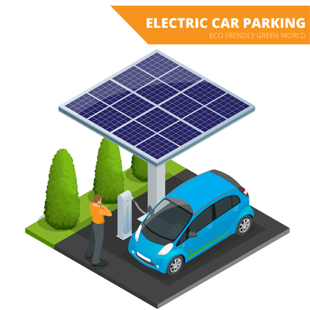 Isometric Electric car parking, electronic car. Ecological concept. Eco friendly green world. Stock Illustratie