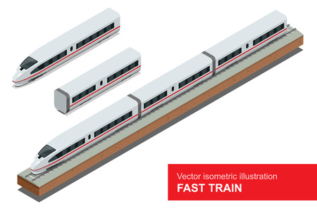 Moderno treno ad alta velocità. Vector isometrico illustrazione di un treno veloce. Veicoli destinati a trasportare un gran numero di passeggeri. Isolato vettore di moderno treno ad alta velocità