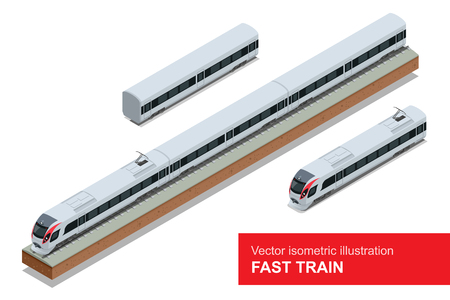 train: Modern high speed train. Vector isometric illustration of a Fast Train. Vehicles designed to carry large numbers of passengers. Isolated vector of modern high speed train.