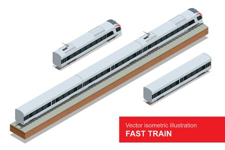 the high speed train: Modern high speed train. Vector isometric illustration of a Fast Train. Vehicles designed to carry large numbers of passengers. Isolated flat vector isometric of modern high speed train Illustration