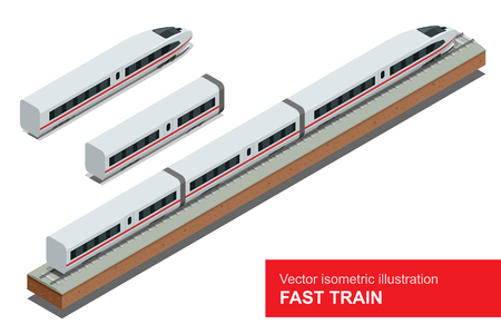 Modern high speed train. Vector isometric illustration of a Fast Train. Vehicles designed to carry large numbers of passengers. Isolated flat vector isometric of modern high speed train