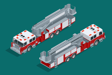 engulf: Fire truck isolated. Fire suppression and victim assistance. Flat 3d isometric high quality city transport