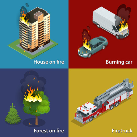 suppression: House on fire, Burning car, Forest on fire, Firetruck. Fire suppression and victim assistance. Isometric vector illustration