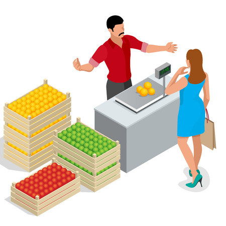 farmer market: Beautiful woman shopping fresh fruits. fruit seller in a farmer market. Stand for selling fruit. Crate of apples, pears. Flat 3d isometric vector illustration Illustration