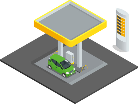 refilling: Small gas station. Gas petroleum petrol refill station cars. Flat  web isometric infographic concept vector. Refilling cleaning shopping service