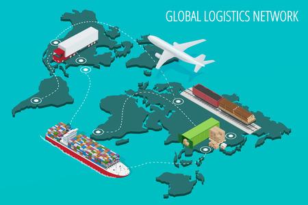 la red global de logística planos isométricos ilustración del vector vehículos diseñados para transportar grandes cantidades de mercancías de China Ilustración de vector