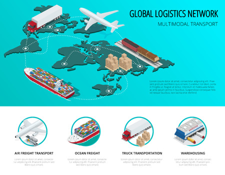 global logistics: Global logistics network Flat isometric vector illustration  Vehicles designed to carry large numbers of China cargo