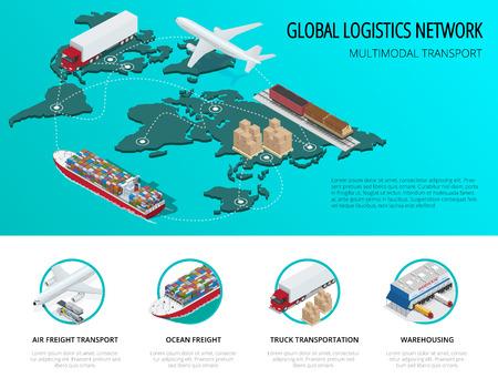réseau logistique mondial Flat isométriques véhicules illustration vectorielle conçus pour transporter un grand nombre de marchandises en Chine