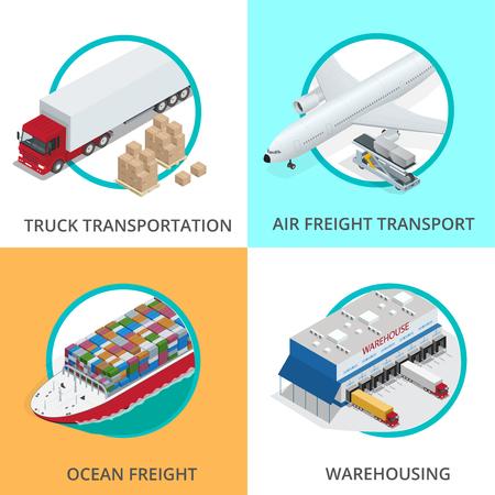 グローバル物流ネットワーク フラット等尺性ベクトル イラスト多数の中国の貨物を運ぶために設計車両 写真素材 - 51892986