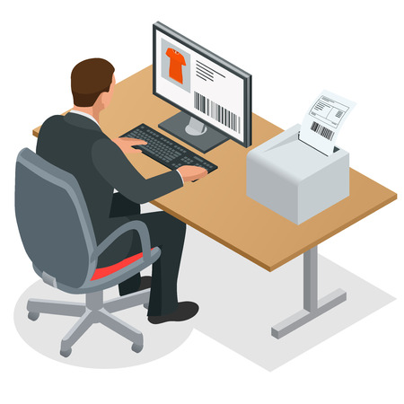 looking at computer screen: Businessman looking at the laptop screen. Businessman at work. Man working at the computer. Flat 3d vector isometric illustration