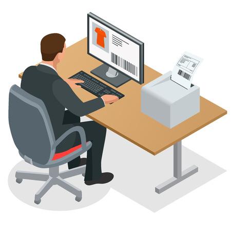 usando computadora: Empresario busca en la pantalla del portátil. El hombre de negocios en el trabajo. Hombre que trabaja en el ordenador. Piso 3d ilustración isométrica del vector