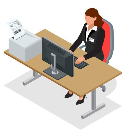ビジネスの女性は、ノート パソコンの画面を見ています。  イラスト・ベクター素材